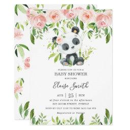 Cute Panda Pink Floral Greenery Baby Shower Girl Invitation
