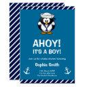 Cute Penguin Blue Nautical Baby Shower