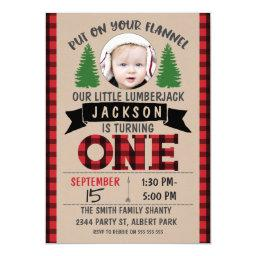 Cute Photo Lumberjack 1st Birthday Invitations