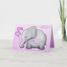 Cute Pink Balloons Elephant Baby Shower Invitation