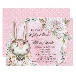 Cute Pink Bunny Rabbit Baby Shower