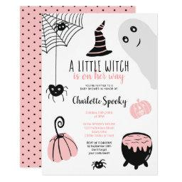 Cute Pink Halloween Illustrations Girl Baby Shower Invitation