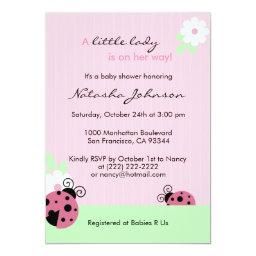 Cute Pink Ladybug Mint Girl Baby Shower Invites