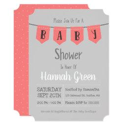 Cute Pink Polka Dot Baby Shower Invitation