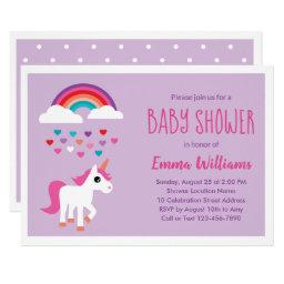 Cute Pink Purple Unicorn Baby Shower