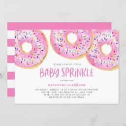 Cute Pink Watercolor Donuts Girl Baby Sprinkle Invitation