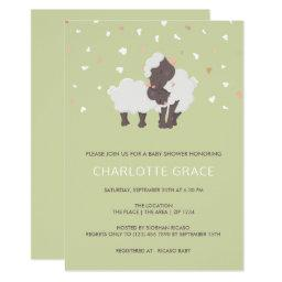 Cute Sheep And Lamb Personalized Baby Shower