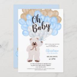 Cute Teddy Bear Blue Balloons Boy Baby Shower Invitation