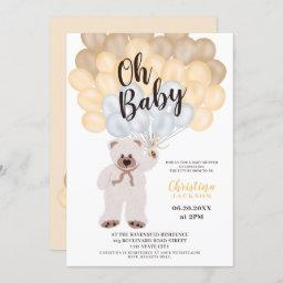Cute Teddy Bear Yellow Balloon Neutral Baby Shower Invitation