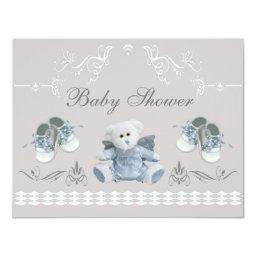 Cute Teddy & Shoes Baby Shower Invitations