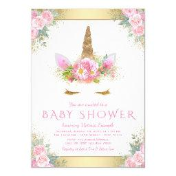 Cute Unicorn Face Pink Gold Baby Shower
