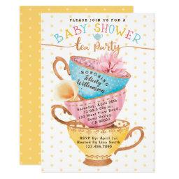 Cute Vintage Chic Tea Party Baby Shower
