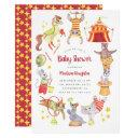Cute Watercolor Carnival Circus Animal Baby Shower Invitation