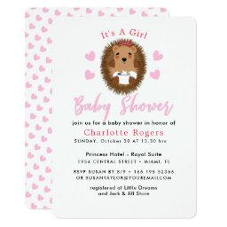 Cute Whimsy Hedgehog Pink Heart Baby Girl Shower