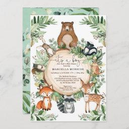 Cute Woodland Animals Rustic Greenery Baby Shower Invitation