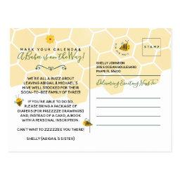 Cute Yellow Bumble Bee Gender Neutral Baby Shower Postinvitations