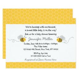 Cute Yellow & Grey Bumble Bee Baby Shower