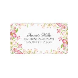 Dainty Pink Floral Return Address Label