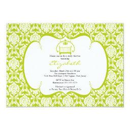 Damask Baby Shower Invitations Green Crib Girl Boy
