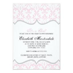 Damask Heart Pink Ribbon Baby Shower