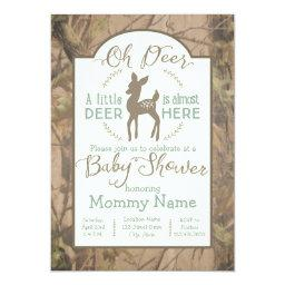 Dear Little Deer Baby Shower Invitations On Camo