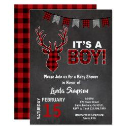 Deer  Buffalo Plaid Red and Gray