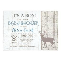 Deer Boy Baby Shower Invitation Rustic Woodland