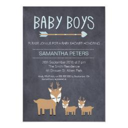 Deer Twin Boys Chalkboard Baby Shower
