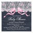 Denim Lace Diamond Bow Baby Shower Invitation
