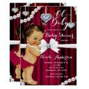Diamonds & Pearls Red Glamour Vintage Baby Shower Invitation