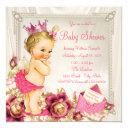 Diamonds Pearls Satin Pink Princess Baby Shower Invitation