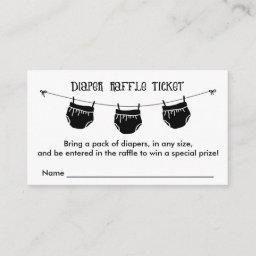Diaper Raffle Ticket, Any Color Enclosure