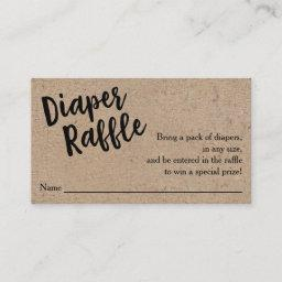 Diaper Raffle Ticket, Black Script Kraft Enclosure