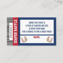 Diaper Raffle Ticket, Sports, Baseball Baby Shower Enclosure Card
