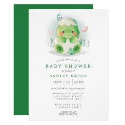 Dinosaur Egg Cute Watercolor Boy Baby Shower Invitation