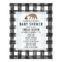 Distressed Gingham Burlap Bears Baby Shower Invitation