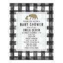 Distressed Gingham Wood Bears Baby Shower Invitation