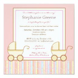 Double Carriage Twin Girl Baby Shower Invitation