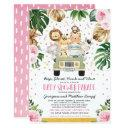 Drive Through Girl Baby Shower Pink Floral Safari Invitation