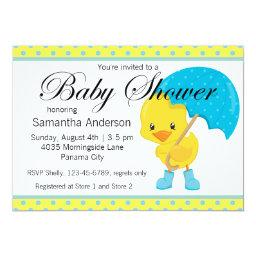 Ducky With Umbrella Baby Shower Invitations