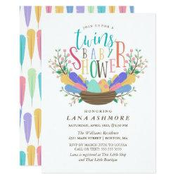 Egg & Colorful Feathers Twins Baby Shower