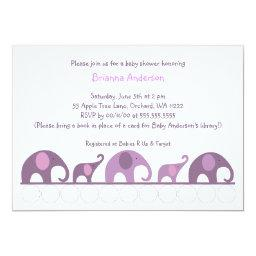 Eggplant Purple elephants on parade baby shower