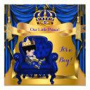 Elegant Baby Shower Boy Prince Royal Blue Gold Asi Invitation