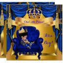 Elegant Baby Shower Boy Prince Royal Blue Gold Invitation