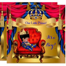Elegant Baby Shower Boy Prince Royal Blue Red Gold Invitations