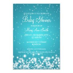 Elegant Baby Shower Winter Sparkle Turquoise