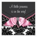 Elegant Black Damask Princess Baby Shower Invitation