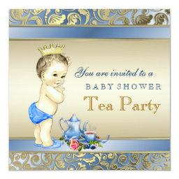 Elegant Blue and Gold Boys Tea Party