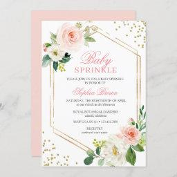 Elegant Blush Gold Floral Baby Sprinkle Brunch Invitation