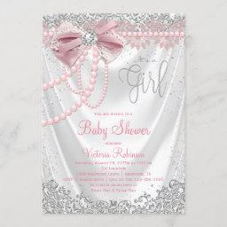 Elegant Blush Pink Diamond Pearl Girly Baby Shower Invitation